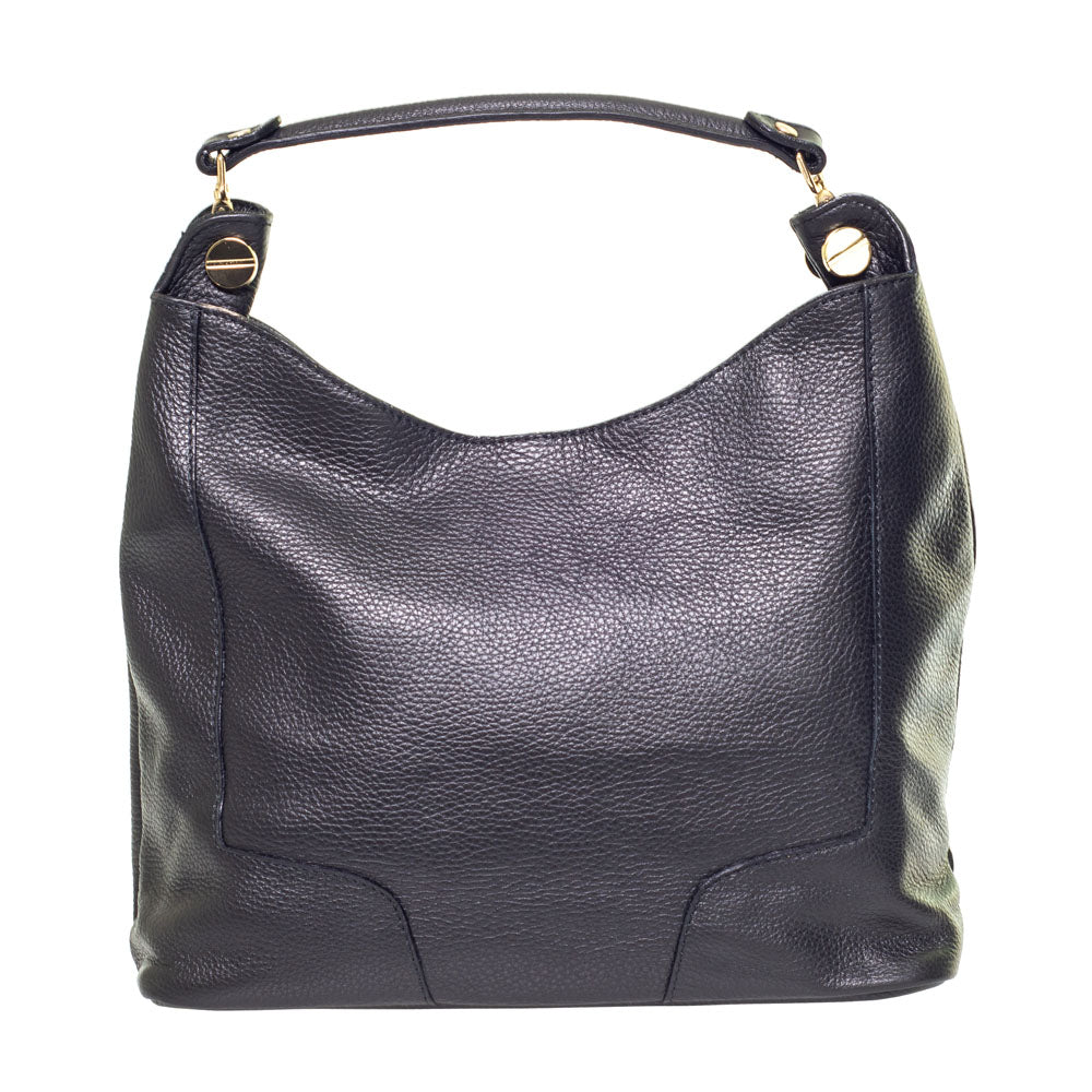 LAURA BLACK LEATHER SHOULDER BAG - www.marlafiji.com