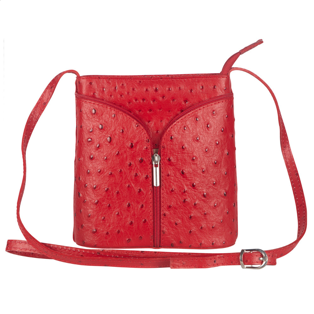 LAURA RED OSTRICH EMBOSSED ITALIAN LEATHER CROSSBODY BAG