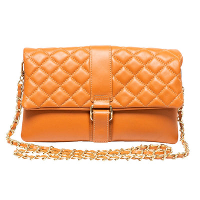 LAUREN COGNAC QUILTED SHOULDER BAG - www.marlafiji.com