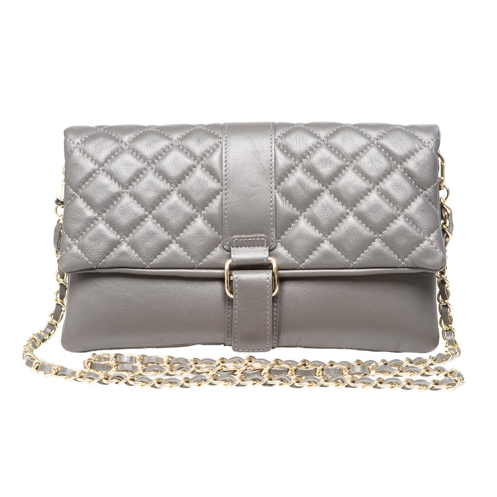 LAUREN GREY QUILTED SHOULDER BAG