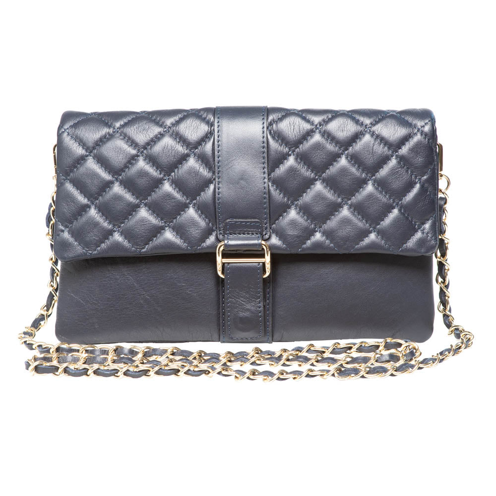 LAUREN NAVY QUILTED SHOULDER BAG