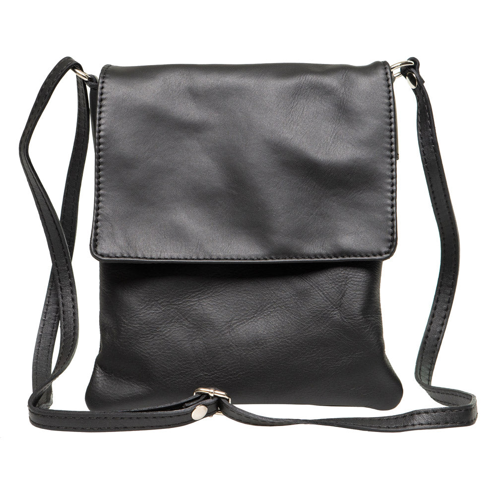 LEE UNISEX BLACK LEATHER CROSS-BODY BAG