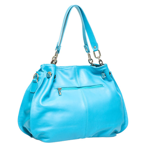 LEXY TURQUOISE ITALIAN LEATHER SHOULDERBAG