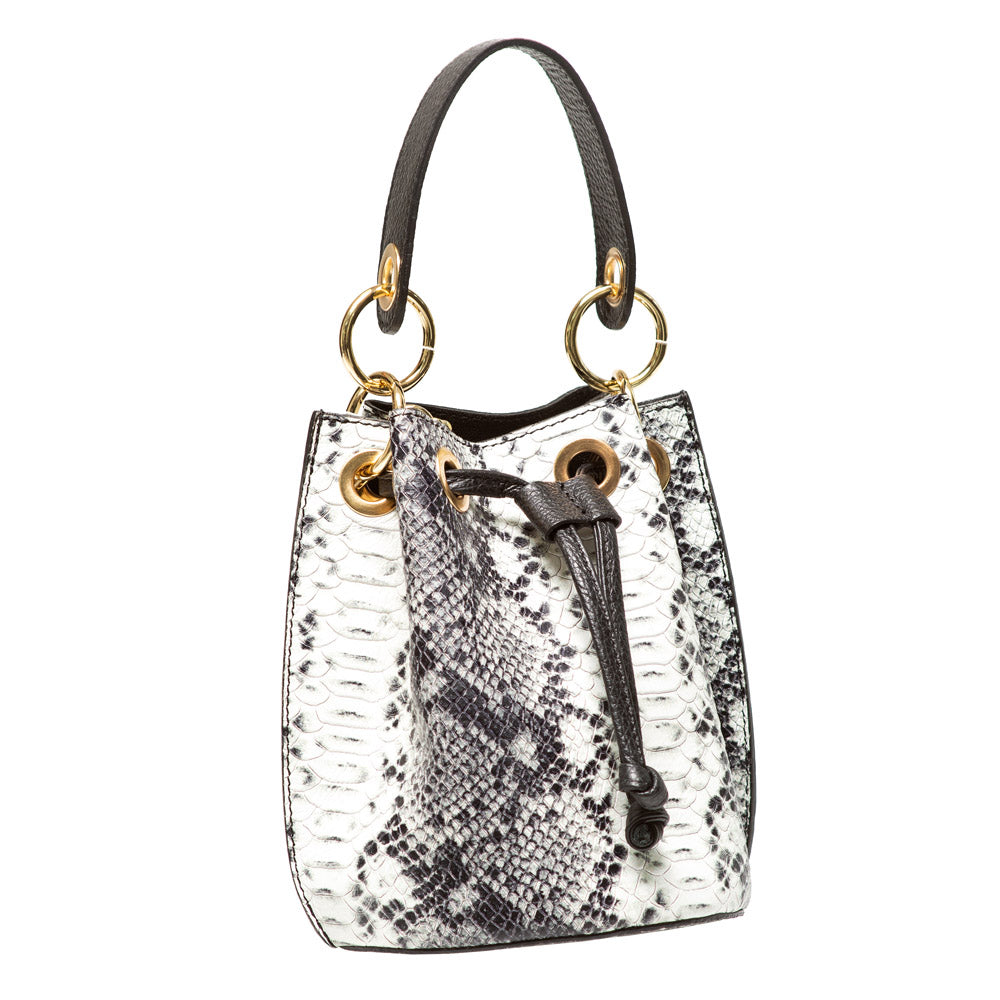 LIZ BLACK AND WHITE PYTHON EFFECT LEATHER DUFFEL BAG
