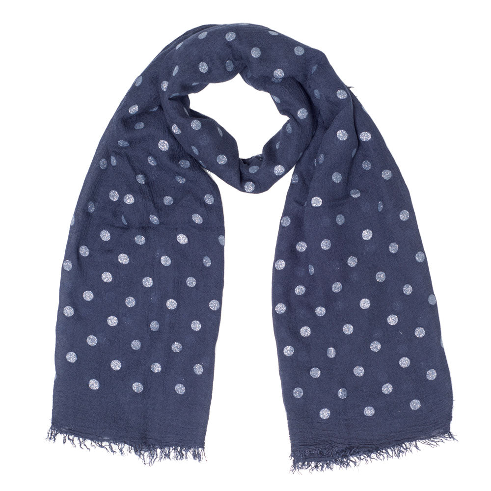 LOLLEE NAVY SILVER SPOTS SCARF