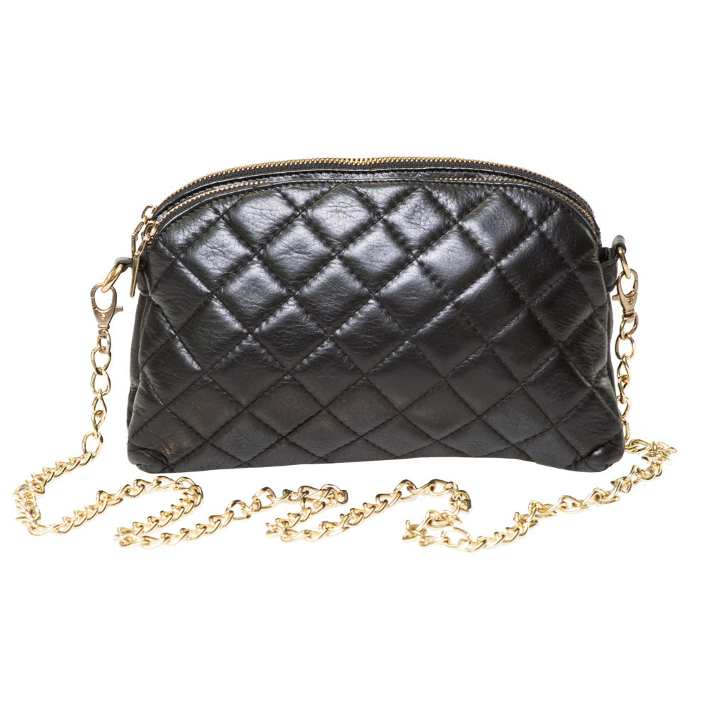 LUCKY BLACK QUILTED CROSS-BODY BAG - www.marlafiji.com