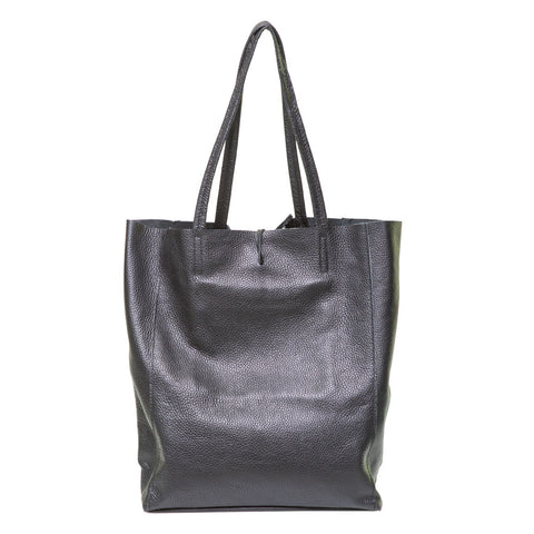 LOLA BLACK PEBBLE LEATHER SHOPPER - www.marlafiji.com