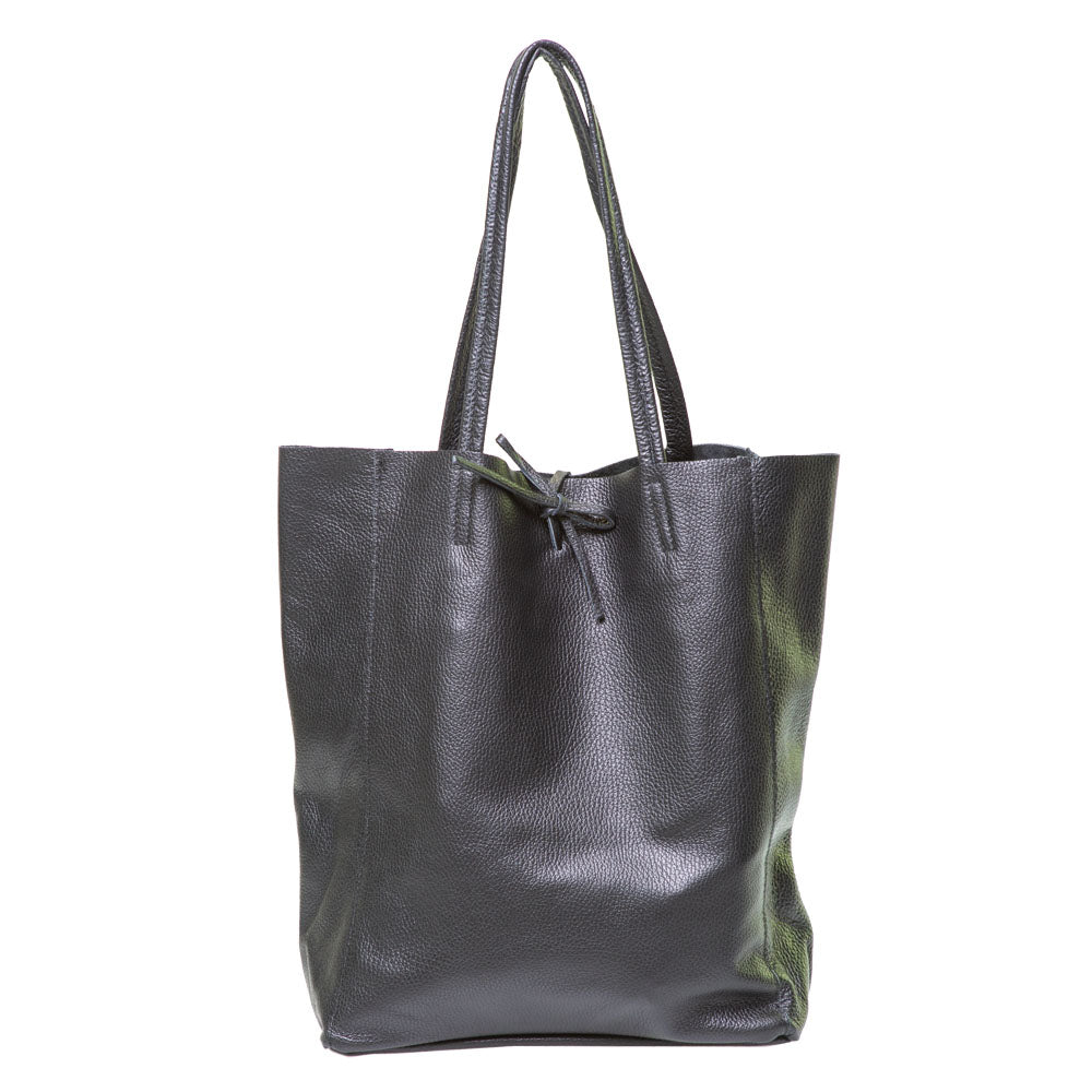 LOLA BLACK PEBBLE LEATHER SHOPPER
