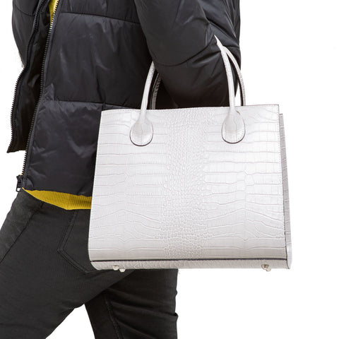 MAZY GREY CROC EFFECT ITALIAN LEATHER HANDBAG
