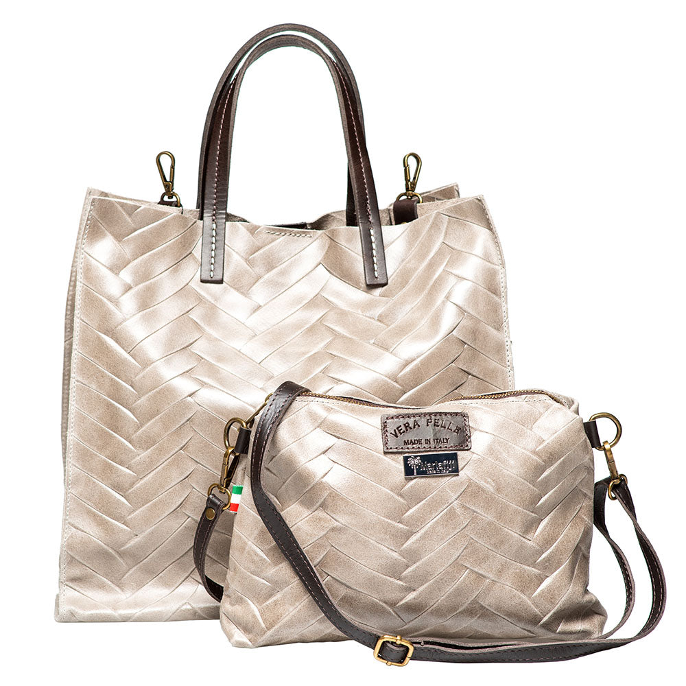 MILLA GREY HERRINGBONE EFFECT LEATHER SHOPPER - www.marlafiji.com