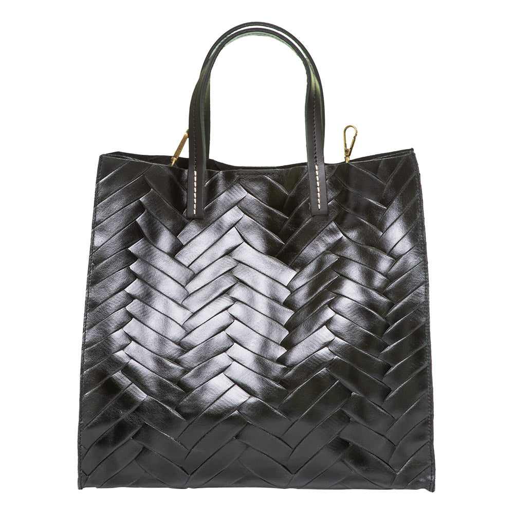 MILLA BLACK HERRINGBONE EFFECT LEATHER SHOPPER - www.marlafiji.com