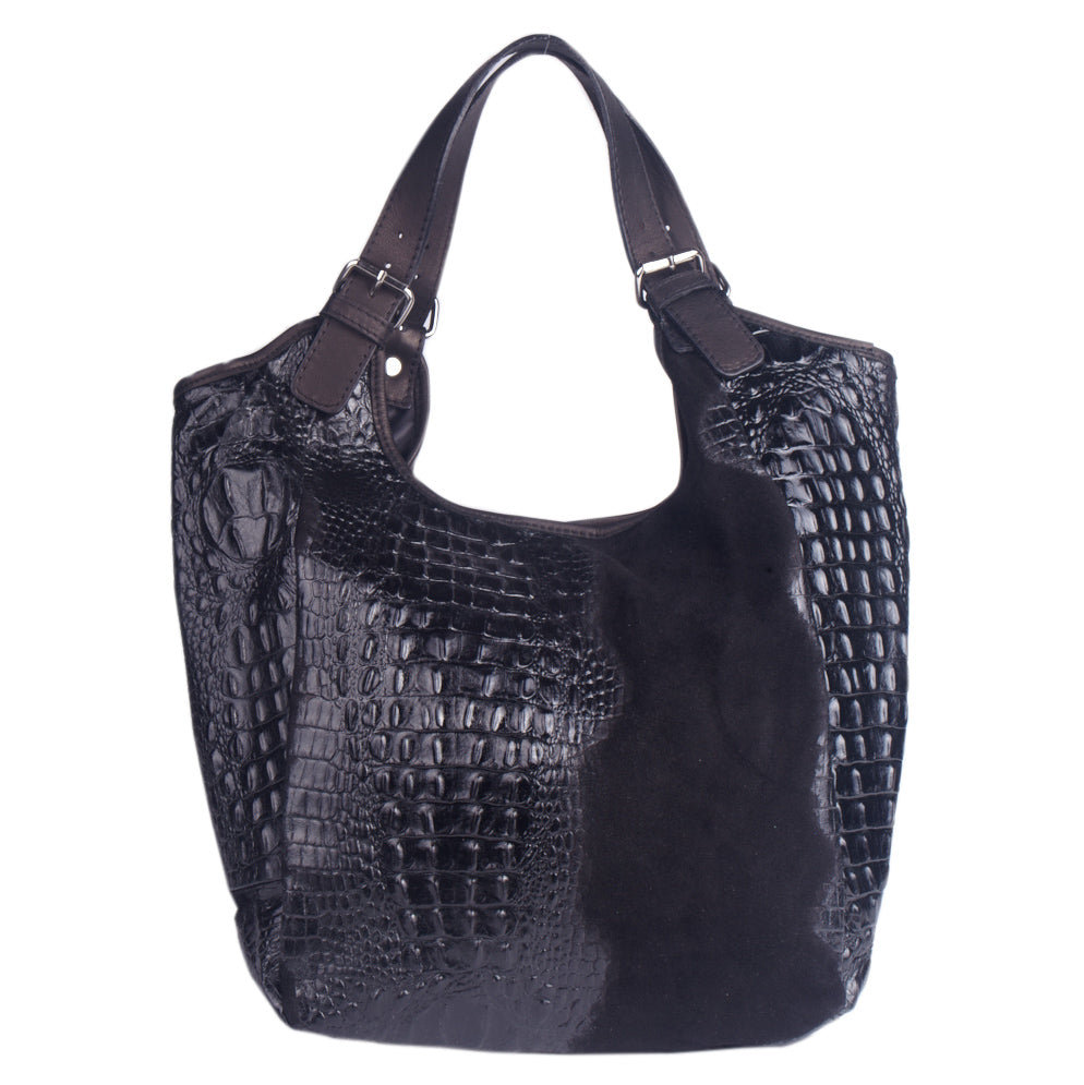 MAXINE  BLACK CROC EFFECT ITALIAN LEATHER/SUEDE HOBO - www.marlafiji.com