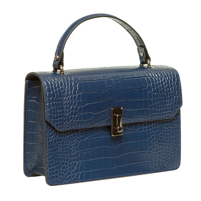 MON NAVY CROC EFFECT ITALIAN LEATHER HANDBAG