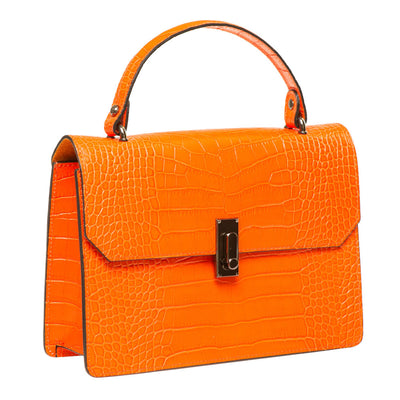 MON ORANGE CROC EFFECT ITALIAN LEATHER HANDBAG