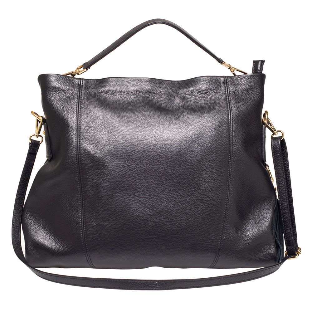 NIGELLA BLACK LEATHER  SHOULDER BAG - www.marlafiji.com