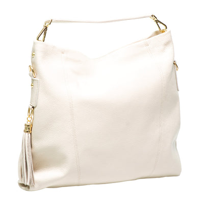 NIGELLA BEIGE LEATHER SHOULDER BAG - www.marlafiji.com