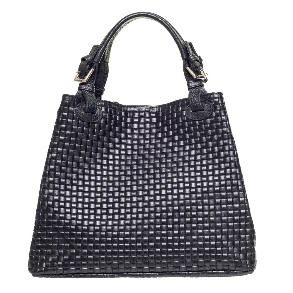 PATTY BLACK WOVEN EFFECT LEATHER SHOULDER BAG - www.marlafiji.com