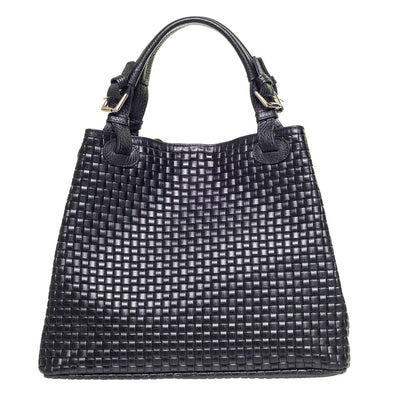 Patty Black Woven Effect Italian leather Shoulder Bag