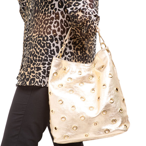 PEARL METALLIC  GOLD SHOULDER BAG - www.marlafiji.com