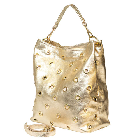 PEARL METALLIC  GOLD SHOULDER BAG