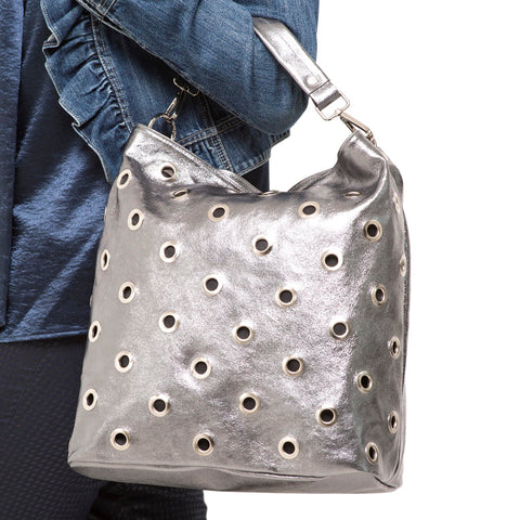PEARL METALLIC GREY SHOULDER BAG