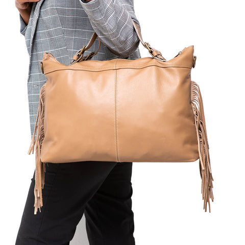 PEG TAUPE ITALIAN LEATHER SATCHEL - www.marlafiji.com