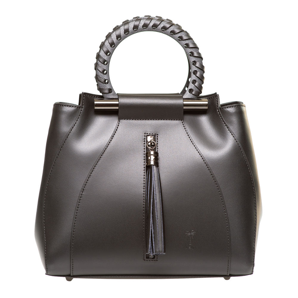 PENELOPE BLACK LEATHER HANDBAG - www.marlafiji.com