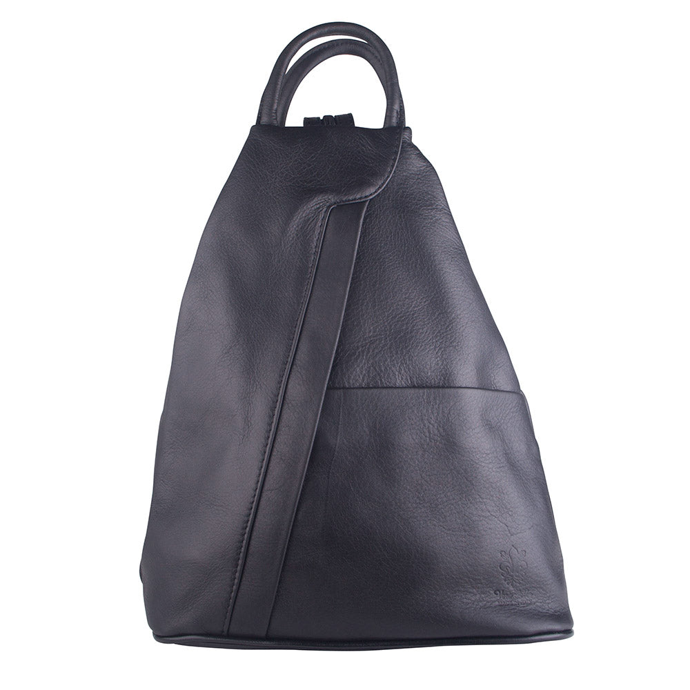 PETA BLACK UNISEX ITALIAN LEATHER BACKPACK - www.marlafiji.com