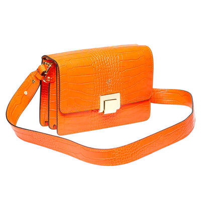 ROSY ORANGE CROC EFFECT ITALIAN LEATHER SHOULDER BAG