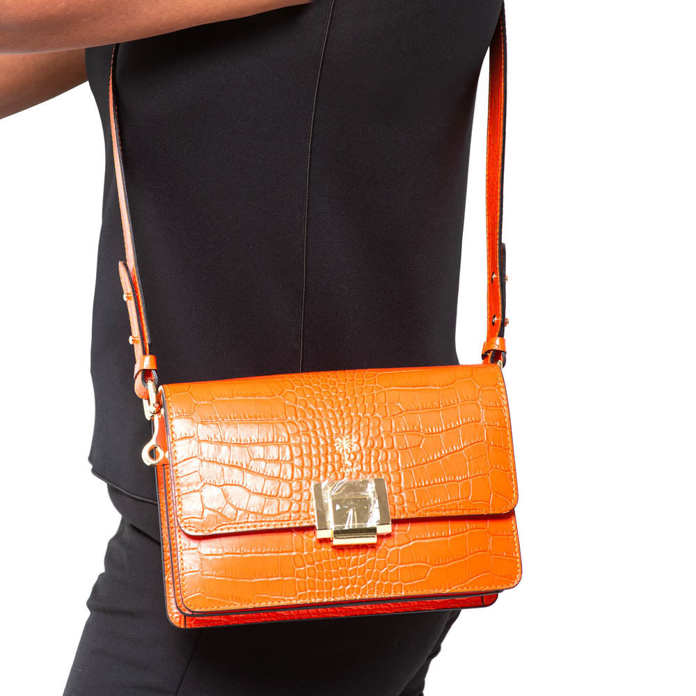 8c512ed41 ROSY ORANGE CROC EFFECT ITALIAN LEATHER SHOULDER BAG – www.marlafiji.com