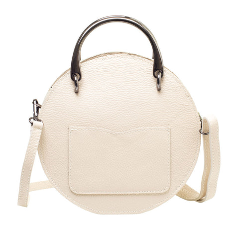 SALLY BEIGE LEATHER  CIRCLE BAG - www.marlafiji.com