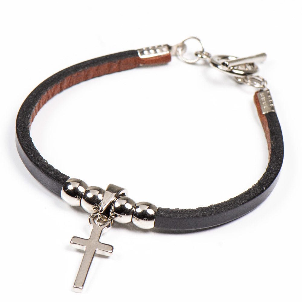 SAM UNISEX STAINLESS STEEL CROSS / LEATHER BRACELET - www.marlafiji.com
