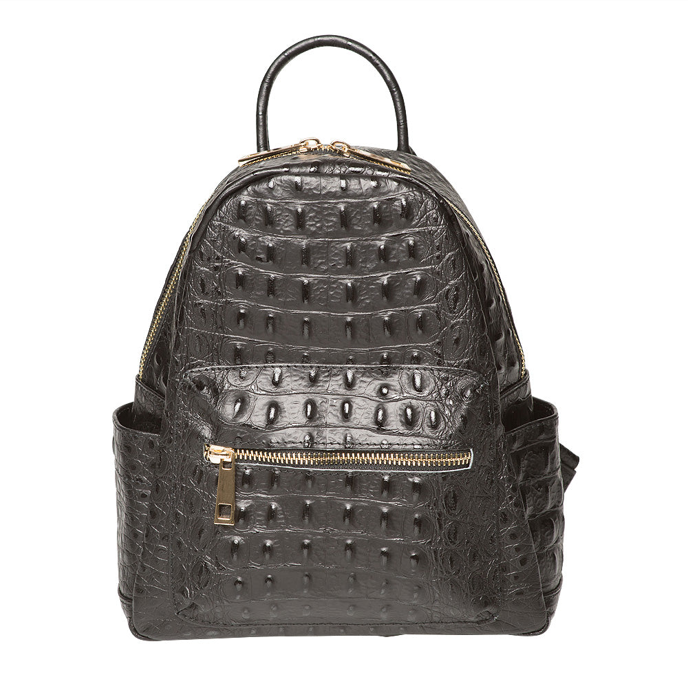 SANDERINE BLACK UNISEX CROC EFFECT BACKPACK
