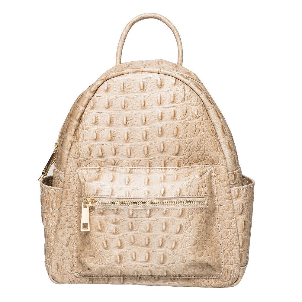 SANDERINE TAUPE UNISEX CROC EFFECT BACKPACK
