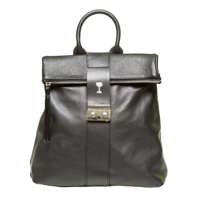 SARAH BLACK  PEBBLE LEATHER BACKPACK