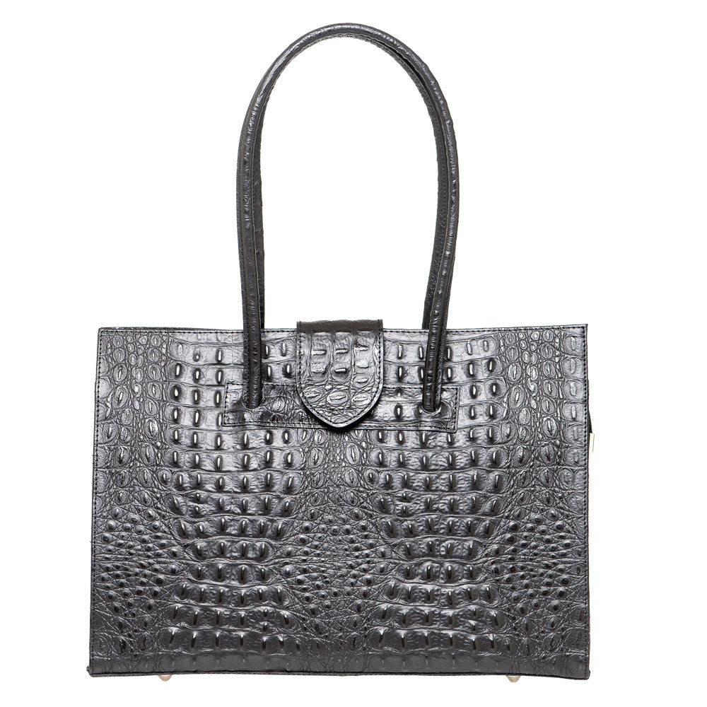 SELENA BLACK CROC EFFECT LEATHER SHOULDER BAG - www.marlafiji.com
