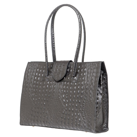 SELENA BLACK CROC EFFECT LEATHER SHOULDER BAG
