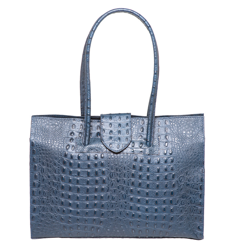 SELENA NAVY CROC EFFECT LEATHER SHOULDER BAG