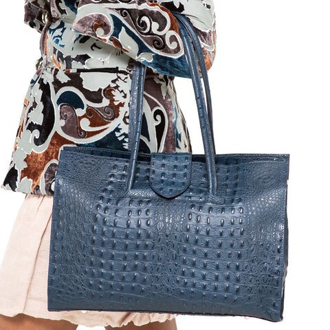 SELENA NAVY CROC EFFECT SHOULDER BAG