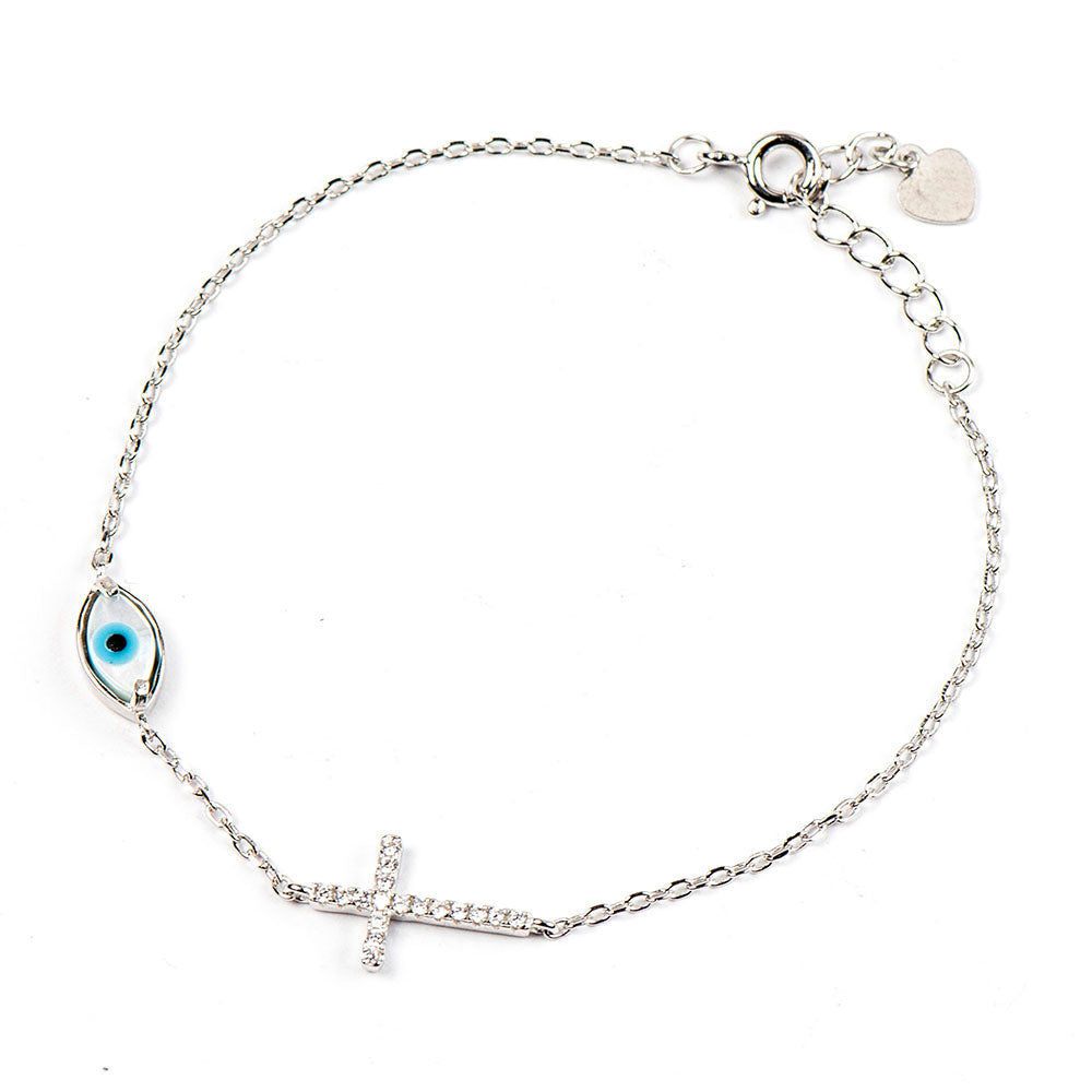 SLOANE STERLING SILVER EYE CROSS UNISEX BRACELET