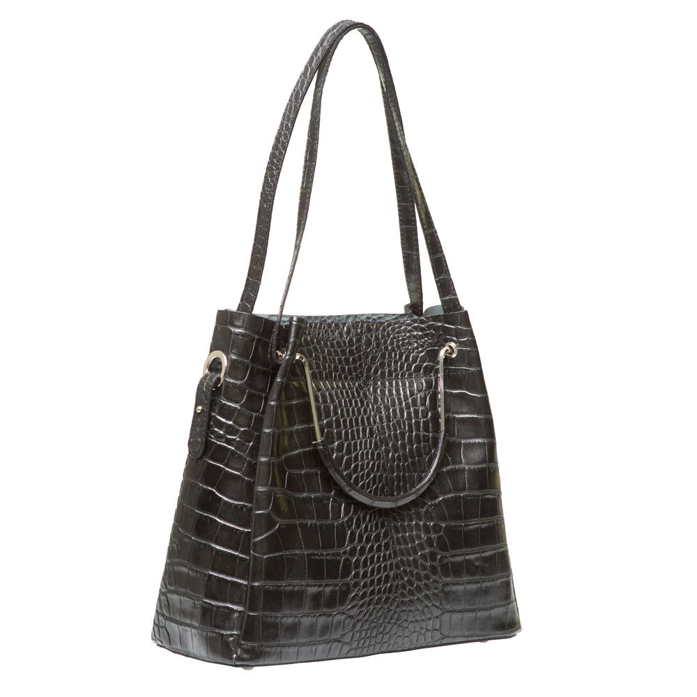 STEPHANIE BLACK CROC EFFECT ITALIAN LEATHER HANDBAG