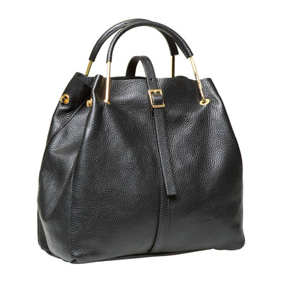 TABATHA FRONT BUCKLE BLACK ITALIAN LEATHER HANDBAG