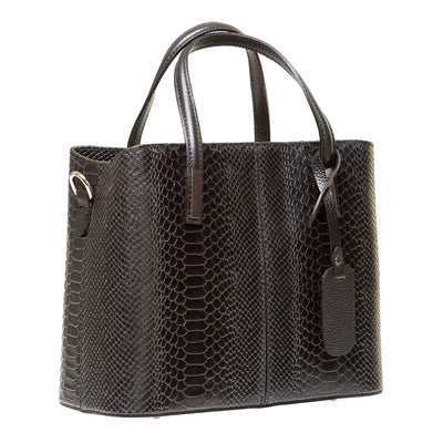 TANU BLACK REPTILE EFFECT ITALIAN LEATHER HANDBAG