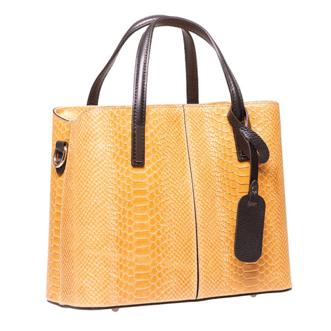 TANU COGNAC REPTILE EFFECT ITALIAN LEATHER HANDBAG