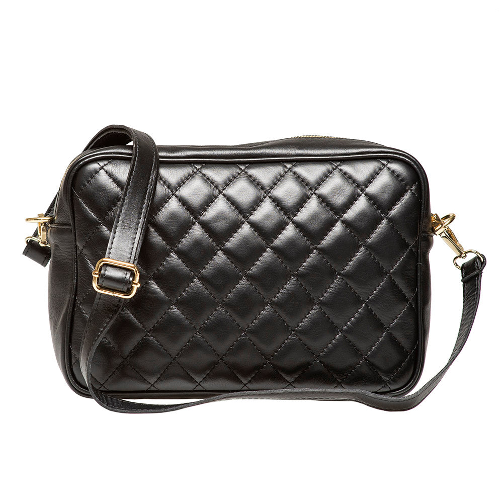TAYLOR BLACK QUILTED LEATHER SHOULDER BAG - www.marlafiji.com