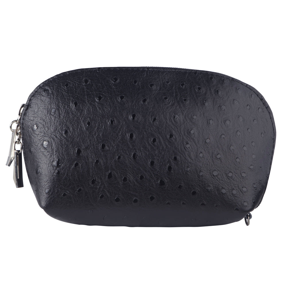 TILLY BLACK ITALIAN LEATHER OSTRICH EFFECT ITALIAN LEATHER PURSE/ MAKE - UP CASE
