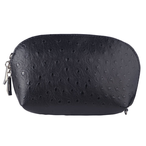 TILLY BLACK ITALIAN LEATHER OSTRICH EFFECT ITALIAN LEATHER PURSE/ MAKE - UP CASE - www.marlafiji.com