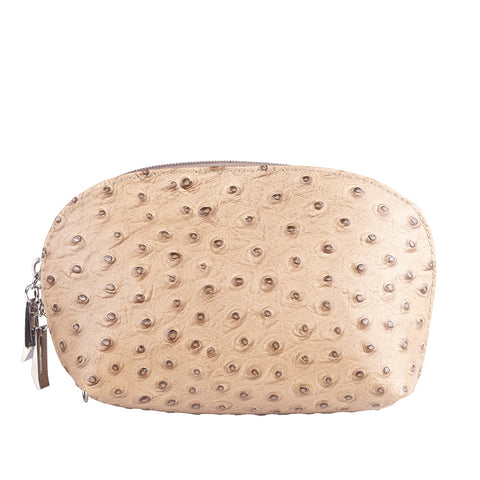 TILLY TAUPE ITALIAN LEATHER  OSTRICH EFFECT LEATHER PURSE/ MAKE - UP CASE - www.marlafiji.com