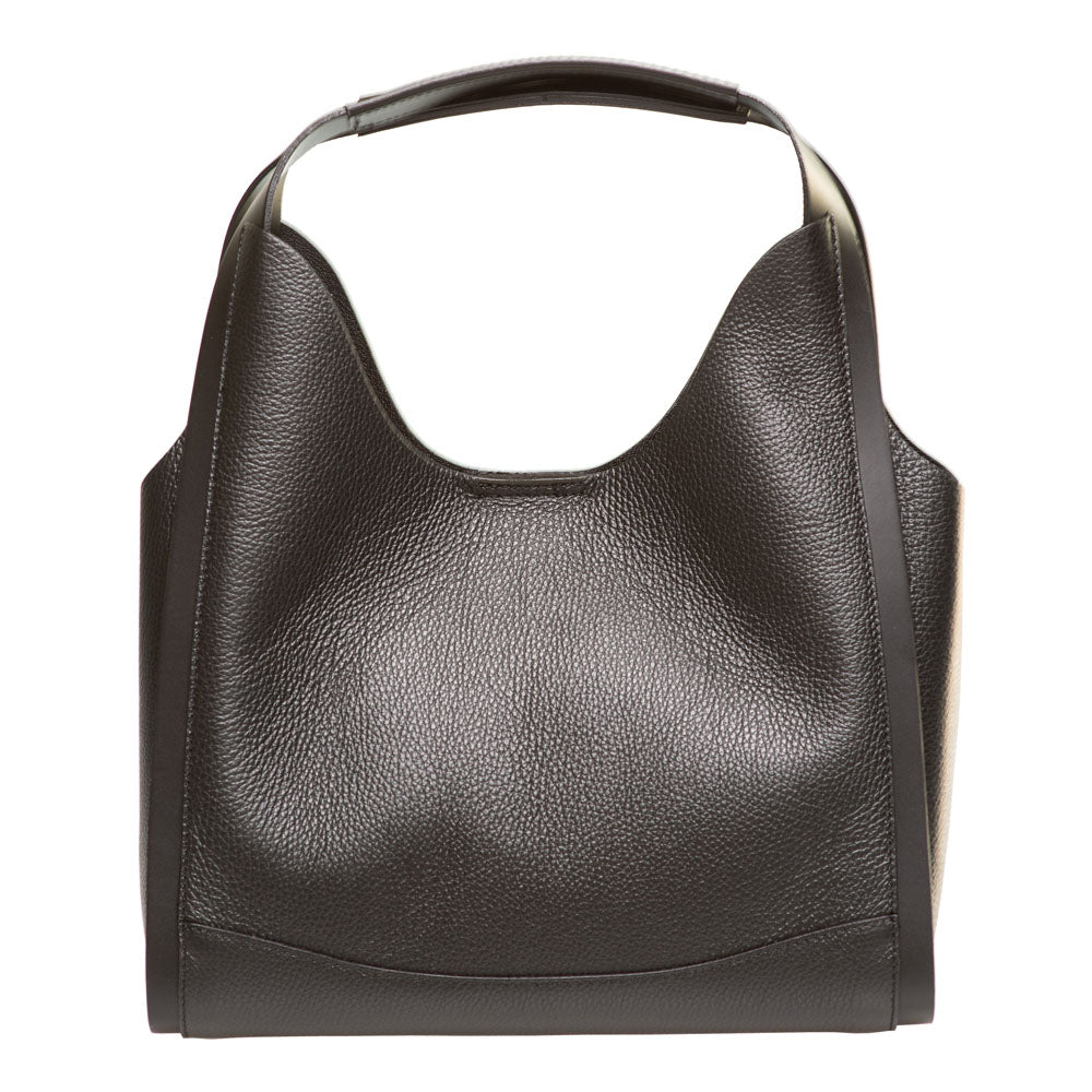 TINA BLACK LEATHER SHOPPER