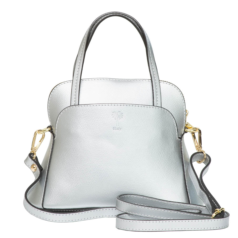 TOLLIE MINI SILVER LEATHER HANDBAG